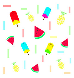 Summer texture with ice cream and fruits vector