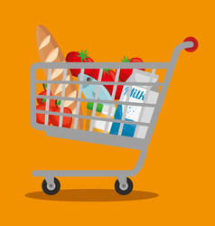 Supermarket products in shopping cart vector