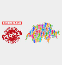 Switzerland map population people and unclean vector