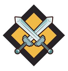 Swords crossed videogame emblem vector