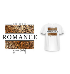 t-shirt design with leopard print slogan vector image