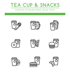 Tea cup with different fast food vector