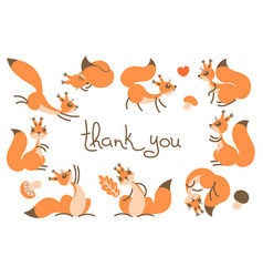 Thank you card with cute squirrels vector