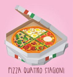The real pizza quattro stagioni pizza four vector