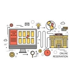 Thin line online reservation modern vector