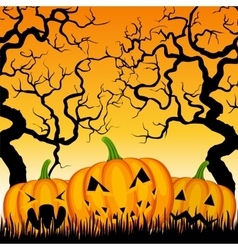 three pumpkins and trees vector image