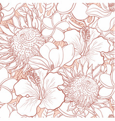 Tropical flowers seamless pattern - white hand vector