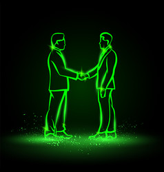 two neon businessman handshaking on a black vector image