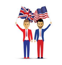 usa and uk flag waving people vector image