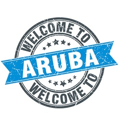 Welcome to Aruba blue round vintage stamp vector