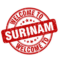 Welcome to surinam red round vintage stamp vector