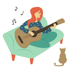 Woman playing guitar guitarist with cat at home vector