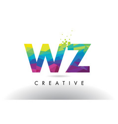 wz w z colorful letter origami triangles design vector image