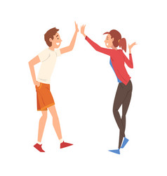 Young man and woman giving high five to each other vector