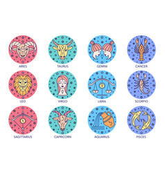 Zodiac signs on white vector