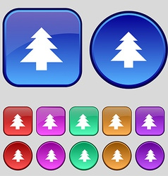Christmas tree icon sign A set of twelve vintage vector image