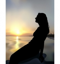 coast sunset and girl silhouette vector image vector image
