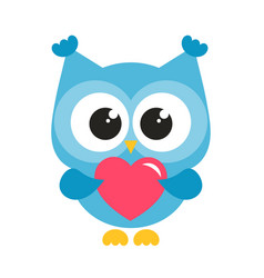 cute blue owl with heart vector image