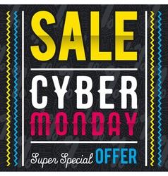 Cyber Monday sale banner on black patterned backgr vector image