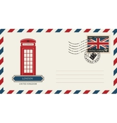 envelope with London phone booth vector image vector image
