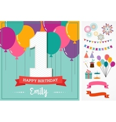 Happy Birthday greeting card with party elements vector image