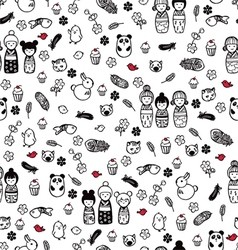 seamless pattern with miniatures vector image vector image