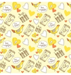 Bon voyage hand drawn patterns with symbol of vector