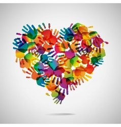 Colored heart from hand print icons vector image