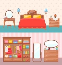 Flat design bedroom interior vector image vector image