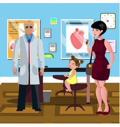 little girl at the doctor s reception vector image