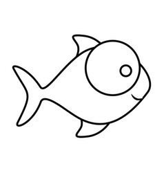monochrome silhouette of fish with big eye and vector image vector image