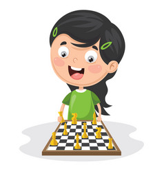 of a kid playing chess vector image
