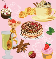 seamless background with a meal vector image