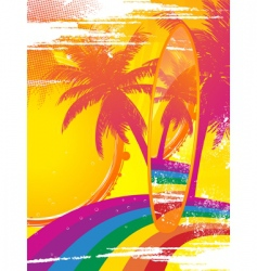 surfboard and tropical rainbow vector image vector image