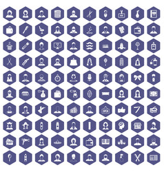 100 hairdresser icons hexagon purple vector