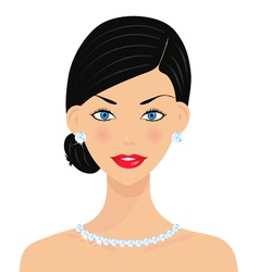 Beautiful woman with diamonds vector image vector image