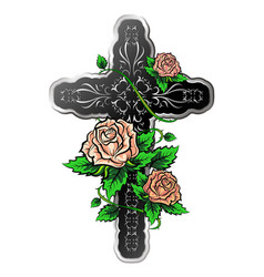 cross with roses vector image vector image