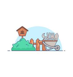 flat gardens tools set vector image