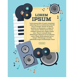 Frame with records piano keys speaker and notes vector image