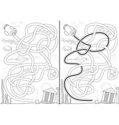Lost city maze vector image vector image