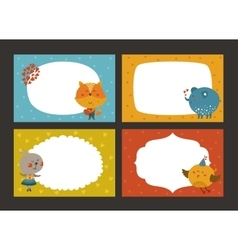 Set of cartoon animal borders vector image