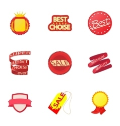 Sticker icons set cartoon style vector image