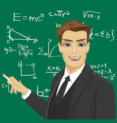 Young male math teacher with piece of chalk vector
