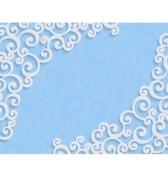 Blue 3d Vintage Invitation Card with Floral vector image vector image