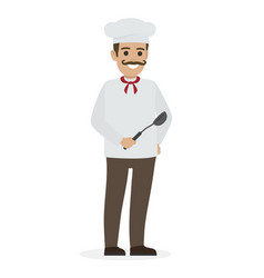 Chef food in white tunic and toque holds ladle vector