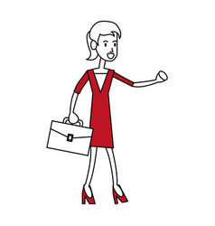 Color silhouette image full body executive woman vector