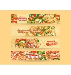 Happy UgadiGudi Padwa Hindu banner templates set vector image