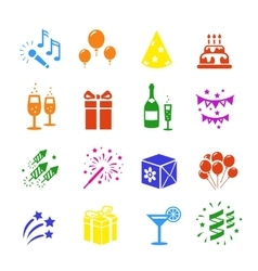 Icons set Holidays Party Birthday colored vector image vector image