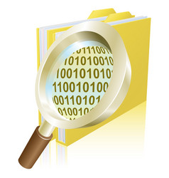 magnifying glass binary data file folder concept vector image