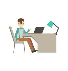 Mn In Glasses Behind His Desk Coworking In vector image vector image